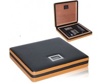 COHIBA Cigar Humidor Set With Free Cutter Lighter Case Black & Yellow