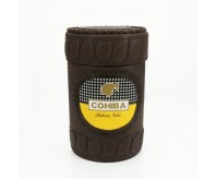 COHIBA Coffee Leather Cedar Cigar Jar Humidor W/humidifier and Hygrometer