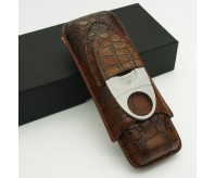 COHIBA Crocodile Leather Cigar Case with Cutter