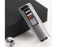 COHIBA Cylindrical Style Silver Torch Jet Flame Cigar Lighter