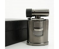 Cohiba Black Chrome Rotation chimney style 4 torch flame cigar lighter With Punch