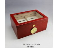 Glass Top Burgundy Double-deck Wooden Cigar Humidor with Hygrometer holds 100 Cigars