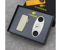 Premium COHIBA Windproof 4 Flame Jet Cigar Lighter Butane Gas Refillable w/Stainless Steel Cutter Set Gift Pack